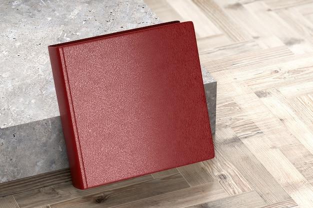 Бордовые книги или записные книжки кожа в твердом переплете деревянный стол поверхность пола, 3d визуализация