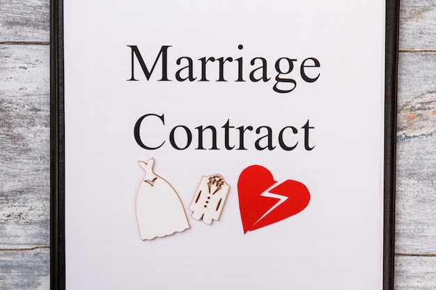 Marriage contract concept. broken heart with wedding dresses.