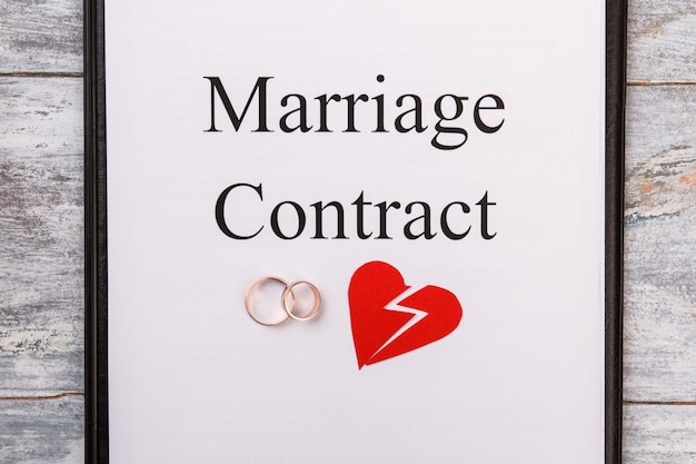 Marriage contract or divorce concept.