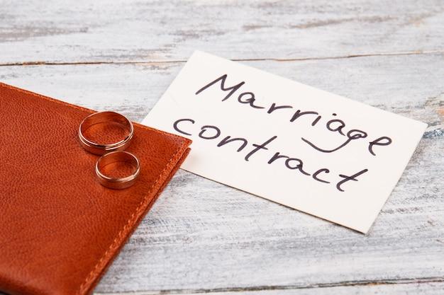 Брачный контракт с обручальными кольцами.