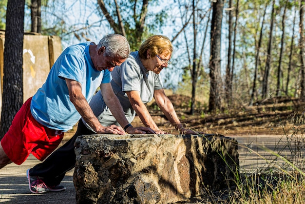 Marriage of elderly doing pushups on outdoor workout