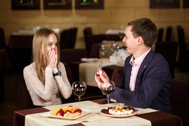 Marriage proposal at a restaurant