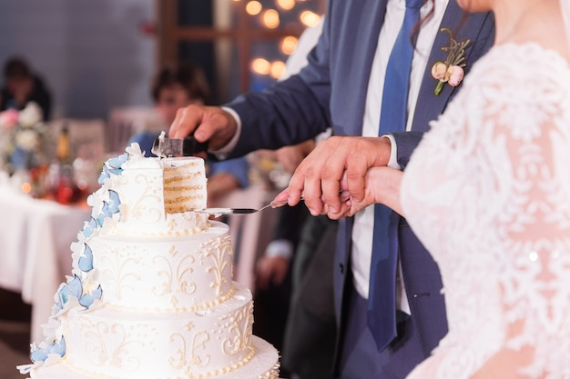 Married couple cut a piece of cake