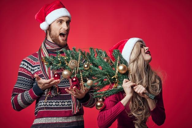 夫婦の感情クリスマス休暇赤い背景