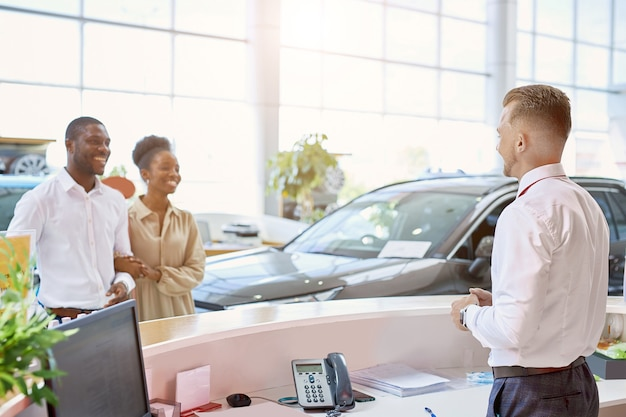 Married couple entered modern dealership