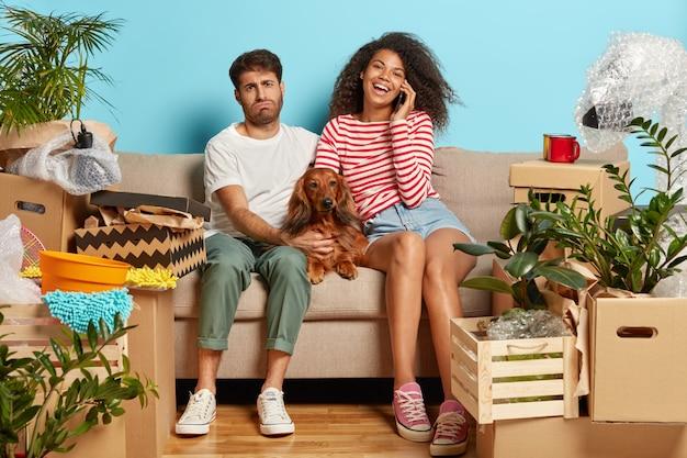 段ボール箱に囲まれた犬とソファの上の夫婦