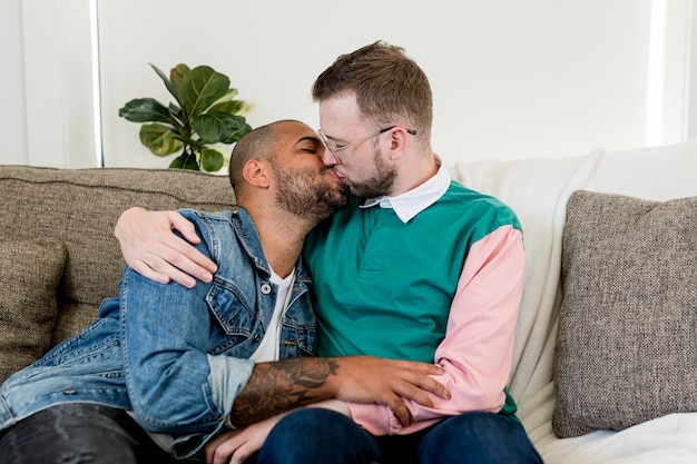 Married gay couple kissing on a couch at home stock image