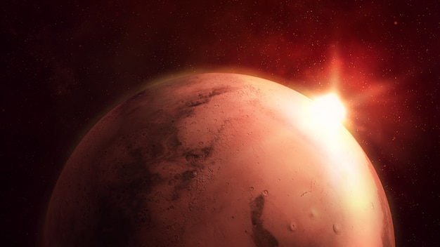 Mars on the background of starry space, red planet surface.