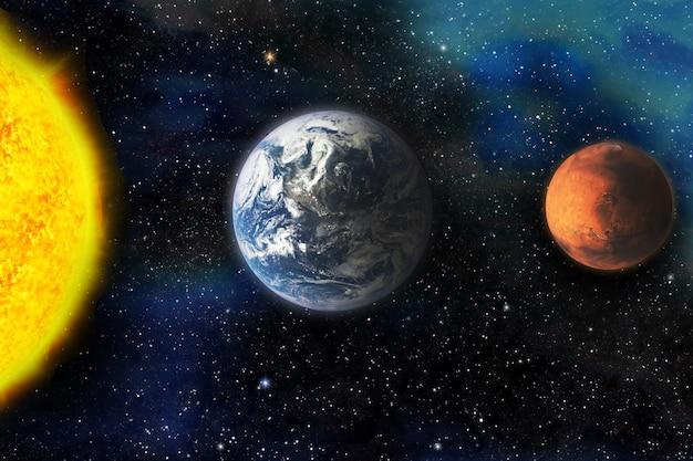 화성은 지구와 큰 대결을 펼친다. 우주, 은하, 행성, 별, 삽화. 점성학. 이 이미지의 요소는 nasa에서 제공한 것입니다.