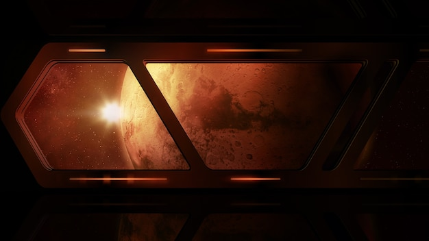 Mars from the window of a space station
