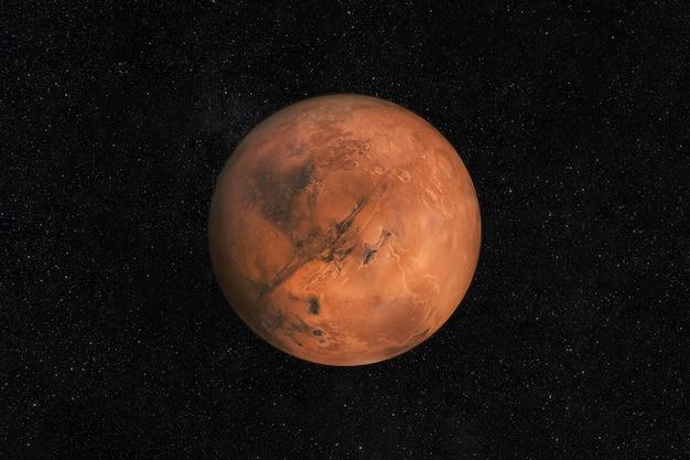Планета марс на звездном небе в космосе. путешествие на новую землю марс со звездами.