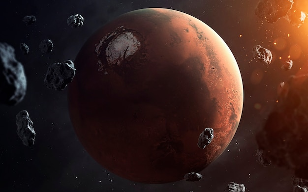 Mars. planets of solar system visualisation. elements of this image furnished by nasa