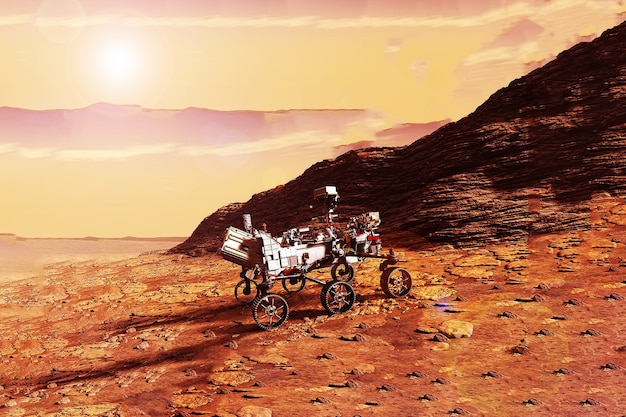 惑星の表面の火星探査車火星この画像の要素はnasaによって提供されました