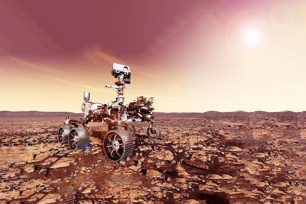 この画像の惑星火星要素の表面にある火星探査車は、nasaによって提供されました