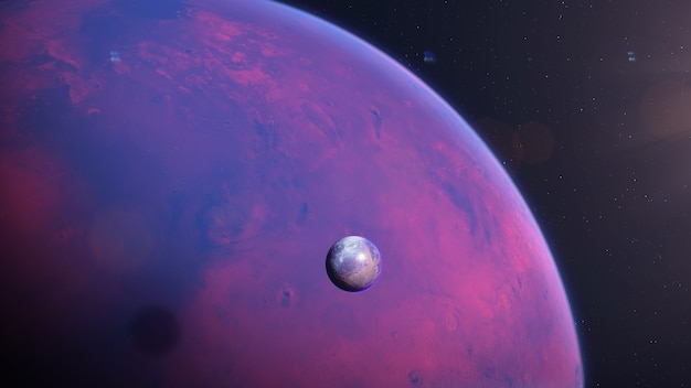 月のある火星型太陽系外惑星