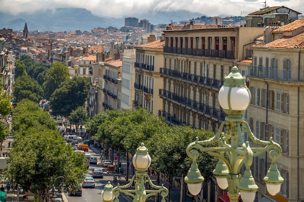 Marseille france city view from the main staircase of the central railway station retro street lamps