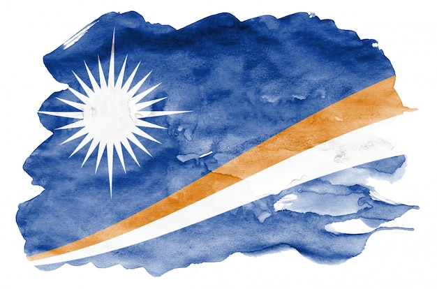 Marshall islands flag  is depicted in liquid watercolor style isolated on white