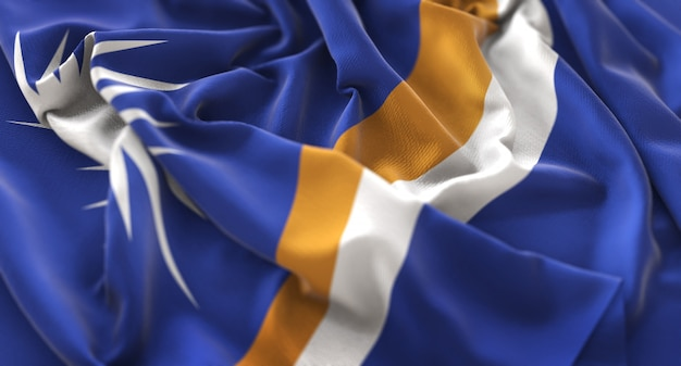 Marshall islands flag ruffled beautifully waving macro close-up shot