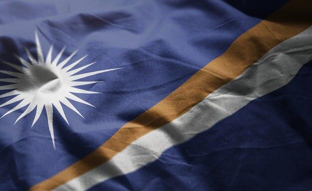 Marshall islands flag rumpled close up
