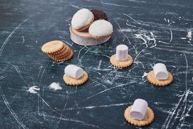 Biscotti marshmallow con cioccolato e polvere di cocco serviti con cracker sul blu.