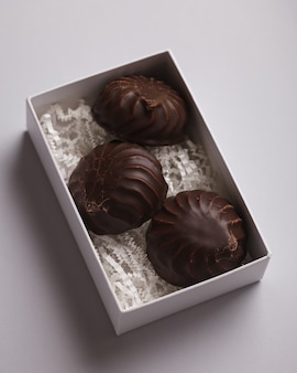 Marshmallows. chocolate-covered marshmallows. delicious marshmallows for tea or coffee