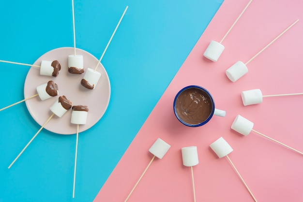 Marshmallows with chocolate top view