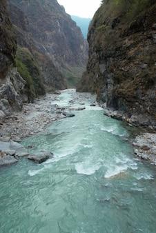 マルシャンディ川とアンナプルナ山。ネパール、チベット。