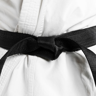 Martial arts of black belt close-up