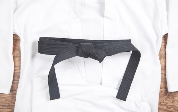 Martial arts clothes. karate uniform with black belt