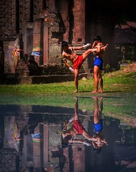 ムエタイの武道。タイのボクシング。