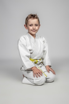 Martial arts practitioner sitting in the traditional japanese manner