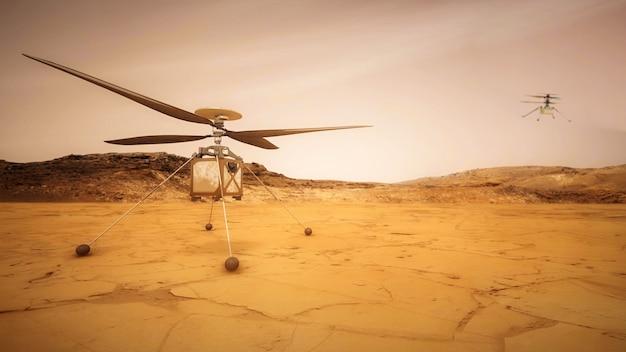 火星のドローン創意工夫、火星のヘリコプターnasaの3dイラストによって提供されたこの画像の要素。