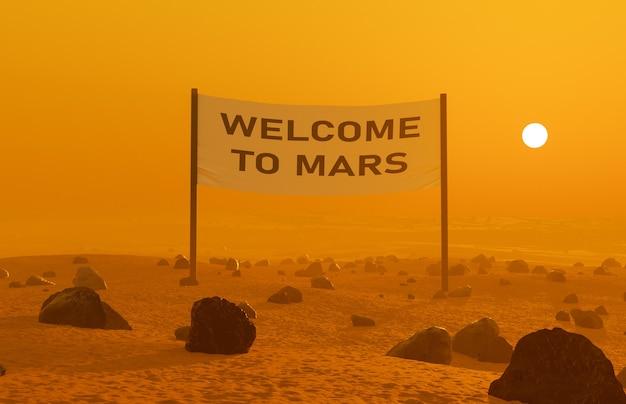 「welcometomars」と書かれた看板があり、後ろから太陽が照らされている火星の風景。 3dレンダリング