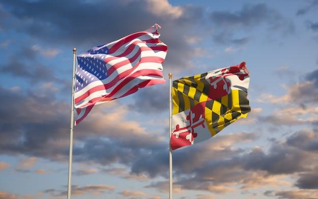 空の背景にメリーランド州の州旗。 3dアートワーク
