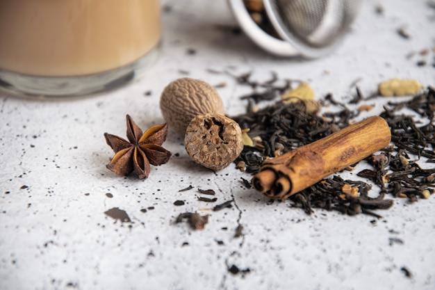 Masala chai black spiced tea with spices