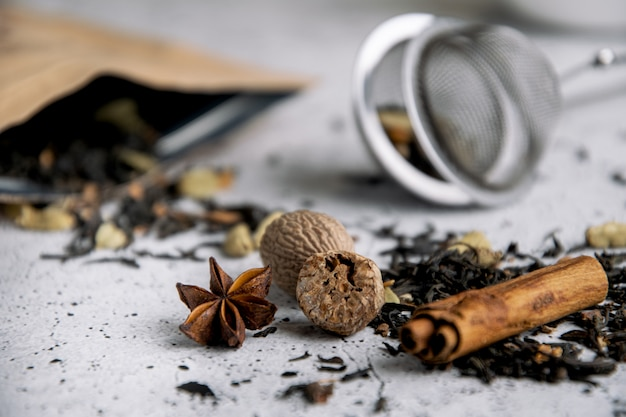 Masala chai black spiced tea with spices