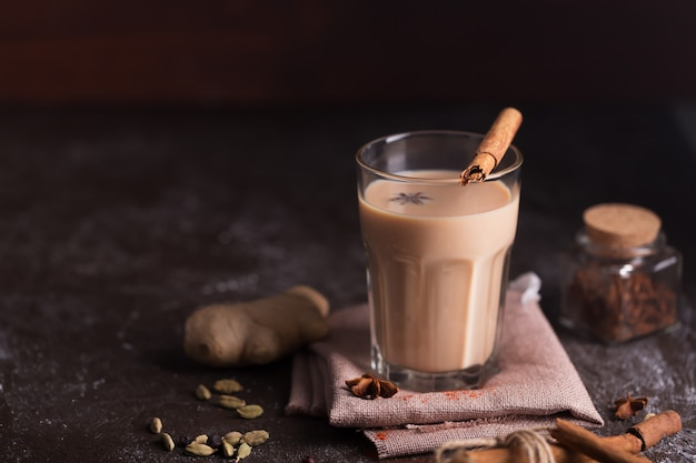 Masala chai tea  . hot indian beverage with spices. image with copy space