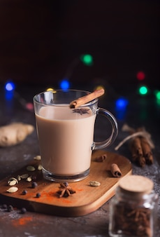 Masala chai tea  . hot indian beverage with spices