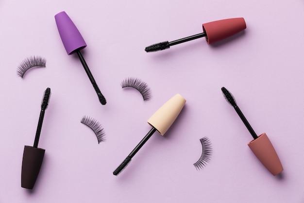Mascara and false eyelashes top view