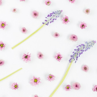 Mascara and pink flower pattern on white backdrop