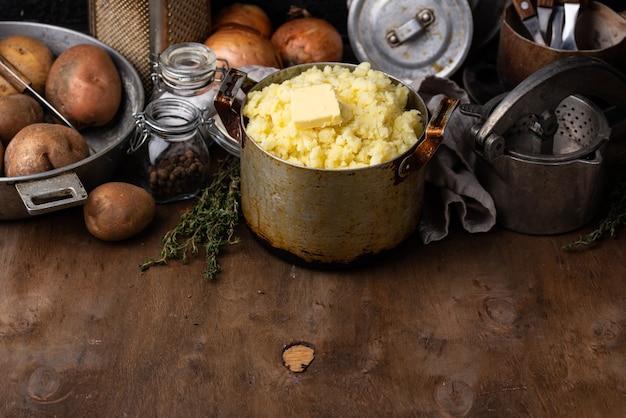 Mashed potato in old vintage pot