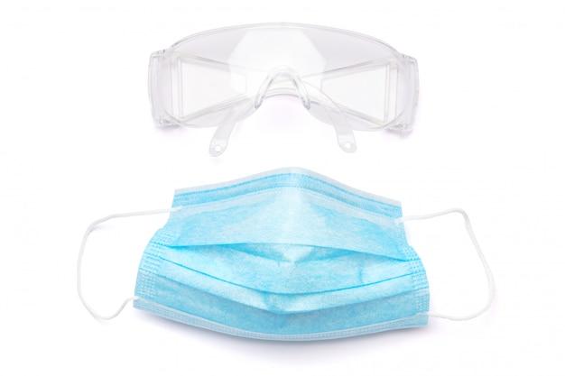 Маска и защитные очки для личной защиты на белом baclground с путем клиппирования.