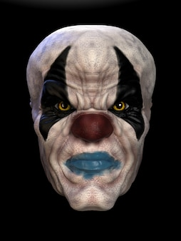 The mask of a bad clown. 3d illustration