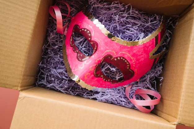Mask placed in craft box