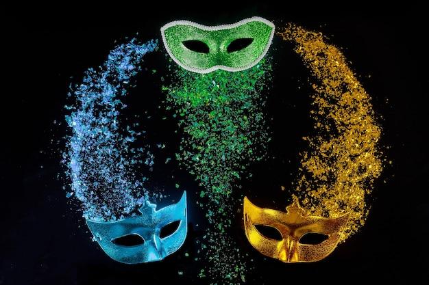 Masks for celebration holiday carnival. jewish purim or mardi gras.