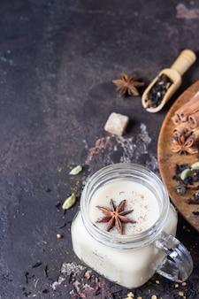 Mason jar with indian masala chai tea