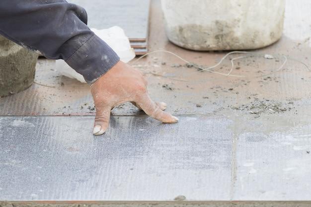 Mason tiling on floor