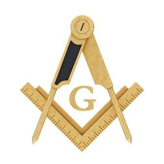 Масонское масонство золотой квадрат и компас с символом эмблемы эмблемы буквы g на белом фоне. 3d рендеринг
