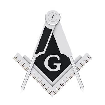Масонское масонство серебряный квадрат и компас с символом эмблемы эмблемы буквы g на белом фоне. 3d рендеринг