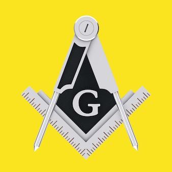 Масонское масонство серебряный квадрат и компас с символом эмблемы эмблемы буквы g на желтом фоне. 3d рендеринг